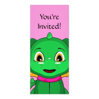 Green And Orange Chibi Dragon 4x9.25 Paper Invitation Card