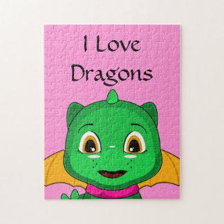 Green And Orange Chibi Dragon Jigsaw Puzzles
