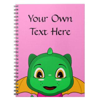 Green And Orange Chibi Dragon Spiral Note Books