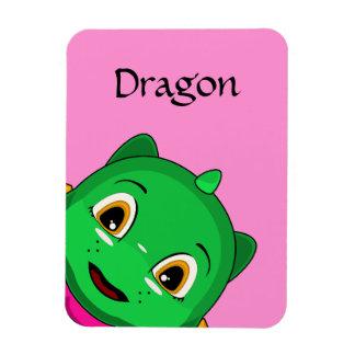 Green And Orange Chibi Dragon Rectangular Photo Magnet