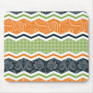 Green and Orange Country Chevron Stripes Mouse Pad