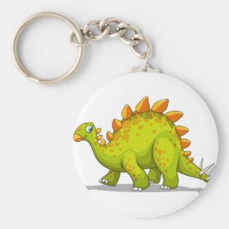 Green and orange dinosaur basic round button keychain