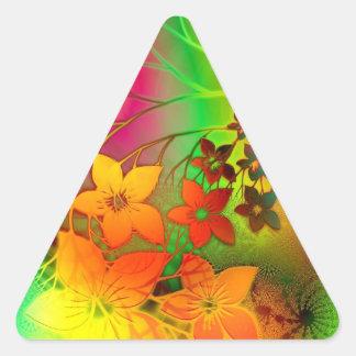 Green and Orange Flowers Design Triangle Sticker