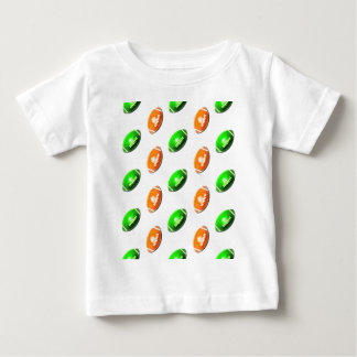 Green and Orange Football Pattern Baby T-Shirt