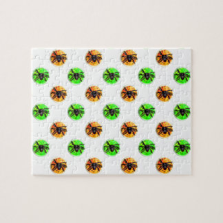 Green and Orange Halloween Spider Cookies Jigsaw Puzzle