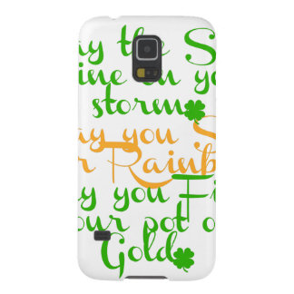 Green and orange Irish blessing with shamrocks Galaxy S5 Cases