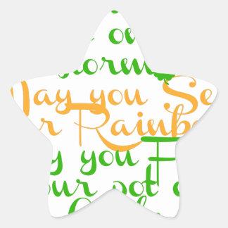 Green and orange Irish blessing with shamrocks Star Sticker