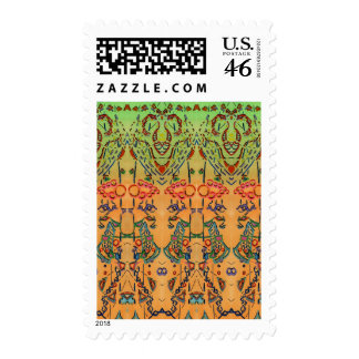 Green and Orange Musical Abstract Postage Stamps