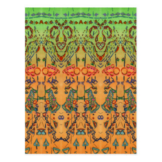 Green and Orange Musical Abstract Postcards