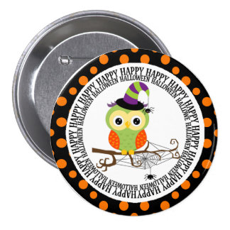 Green and Orange Owl in Witch Hat Halloween Pinback Button