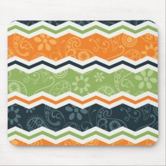 Green and Orange Paisley Chevron Stripes Mouse Pad