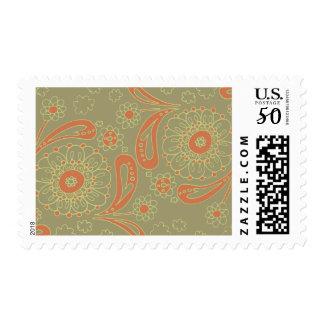 Green and Orange Paisley Mandala Floral Pattern Postage