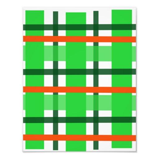 Green and Orange Plaid Photo Art