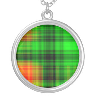 Green And Orange Plaid Round Pendant Necklace