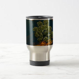 GREEN AND ORANGE REFLECTIONS IN A POND TRAVEL MUG