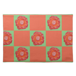 Green and orange roses pattern placemat