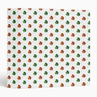 Green and Orange Shamrock Pattern 3 Ring Binder