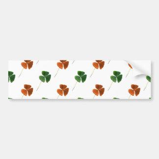 Green and Orange Shamrock Pattern Bumper Sticker