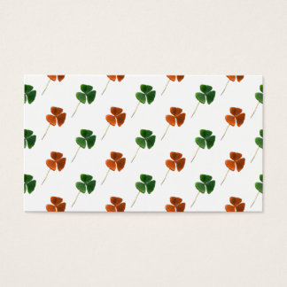 Green and Orange Shamrock Pattern Business Card