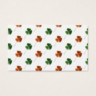 Green and Orange Shamrock Pattern Business Card
