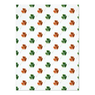 Green and Orange Shamrock Pattern 5.5x7.5 Paper Invitation Card