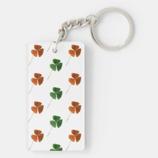 Green and Orange Shamrock Pattern Keychain
