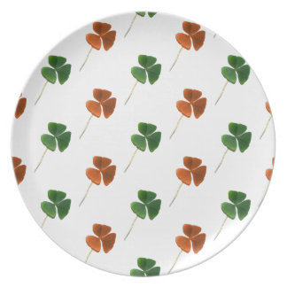 Green and Orange Shamrock Pattern Party Plate