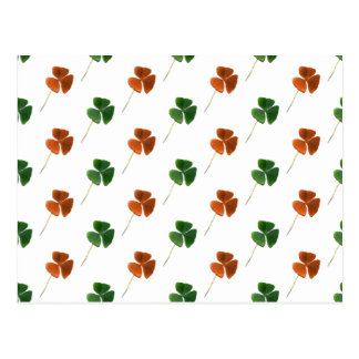 Green and Orange Shamrock Pattern Postcard