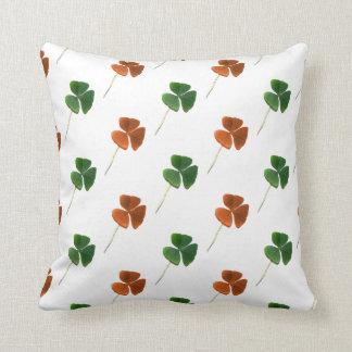Green and Orange Shamrock Pattern Throw Pillow