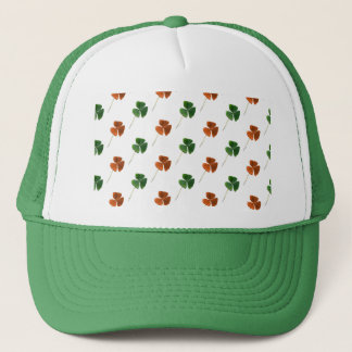 Green and Orange Shamrock Pattern Trucker Hat