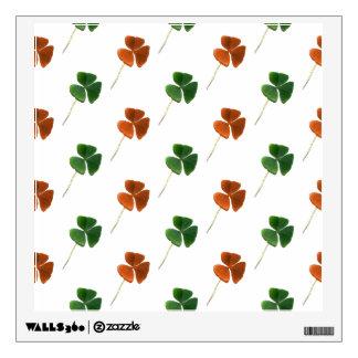 Green and Orange Shamrock Pattern Wall Sticker