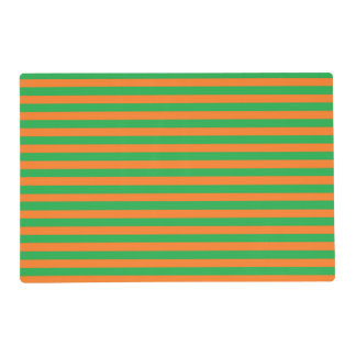 Green and Orange Stripes Laminated Placemat