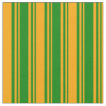 [ Thumbnail: Green and Orange Stripes Pattern Fabric ]