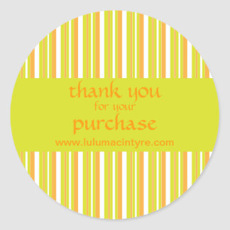 Green and orange stripes thank you stickers