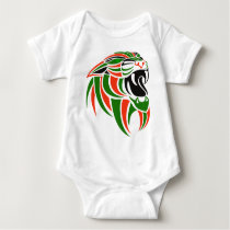 Green and Orange Tiger Head Baby Bodysuit