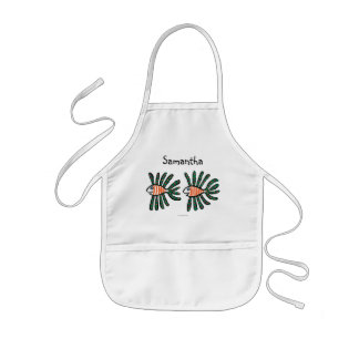 Green and Orange Twin Fin Fish Kids' Apron