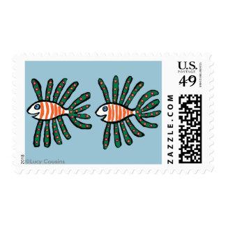 Green and Orange Twin Fin Fish Stamp