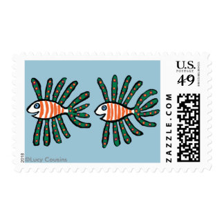 Green and Orange Twin Fin Fish Postage Stamp