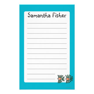 Green and Orange Twin Fin Fish Stationery