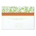 Green and Orange Wedding RSVP Custom Invites