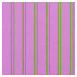 [ Thumbnail: Green and Orchid Lined/Striped Pattern Fabric ]
