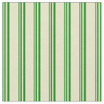 [ Thumbnail: Green and Pale Goldenrod Lines Pattern Fabric ]