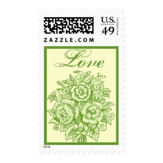 Green and Pale Yellow Rose Bouquet Love Stamps
