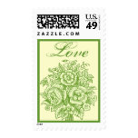 Green and Pale Yellow Rose Bouquet Love Stamp