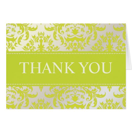 Green and Pearl Damask Thank You Note Cards