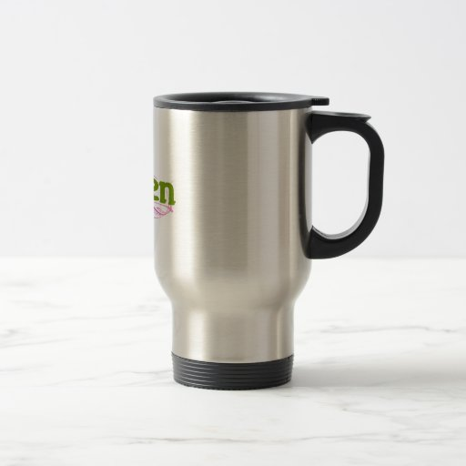 green and pink 15 oz stainless steel travel mug