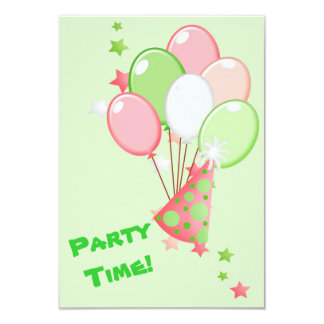 "Green and Pink Birthday Balloons Party 3.5"" X 5"" Invitation Card"