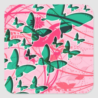 Green and Pink Butterfly Square Sticker
