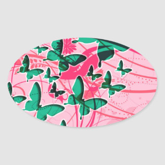 Green and Pink Butterfly Oval Sticker