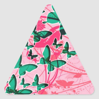 Green and Pink Butterfly Triangle Sticker